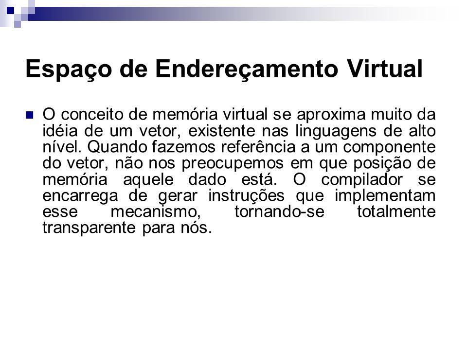 Espaço de Endereçamento Virtual O conceito de memória virtual se aproxima muito da idéia de um vetor, existente nas linguagens de alto nível. Quando f