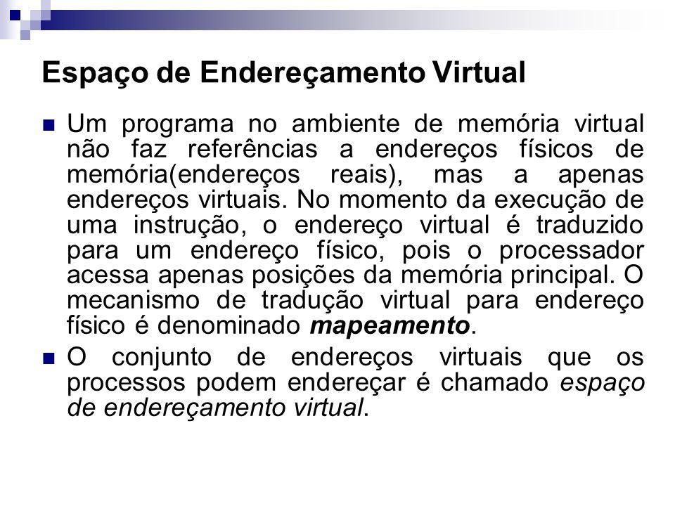 Um programa no ambiente de memória virtual não faz referências a endereços físicos de memória(endereços reais), mas a apenas endereços virtuais. No mo