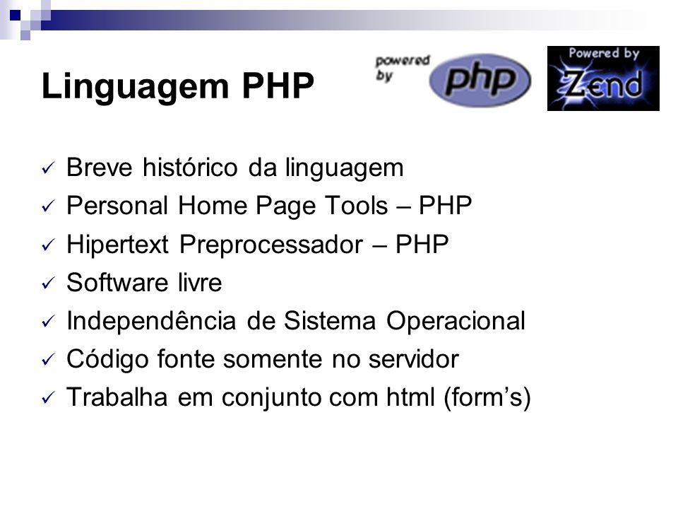 Linguagem PHP Breve histórico da linguagem Personal Home Page Tools – PHP Hipertext Preprocessador – PHP Software livre Independência de Sistema Opera