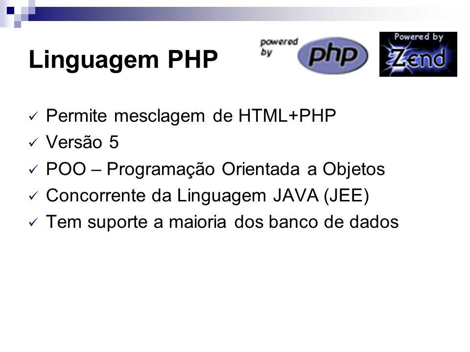 Linguagem PHP Permite mesclagem de HTML+PHP Versão 5 POO – Programação Orientada a Objetos Concorrente da Linguagem JAVA (JEE) Tem suporte a maioria d