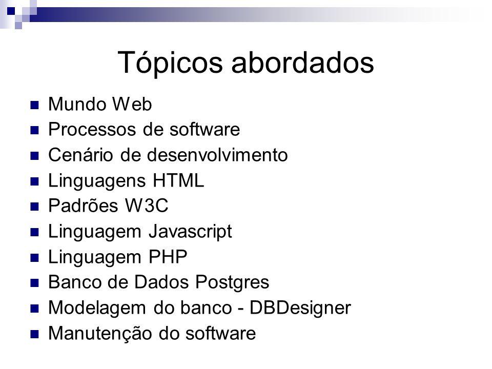 Tópicos abordados Mundo Web Processos de software Cenário de desenvolvimento Linguagens HTML Padrões W3C Linguagem Javascript Linguagem PHP Banco de D