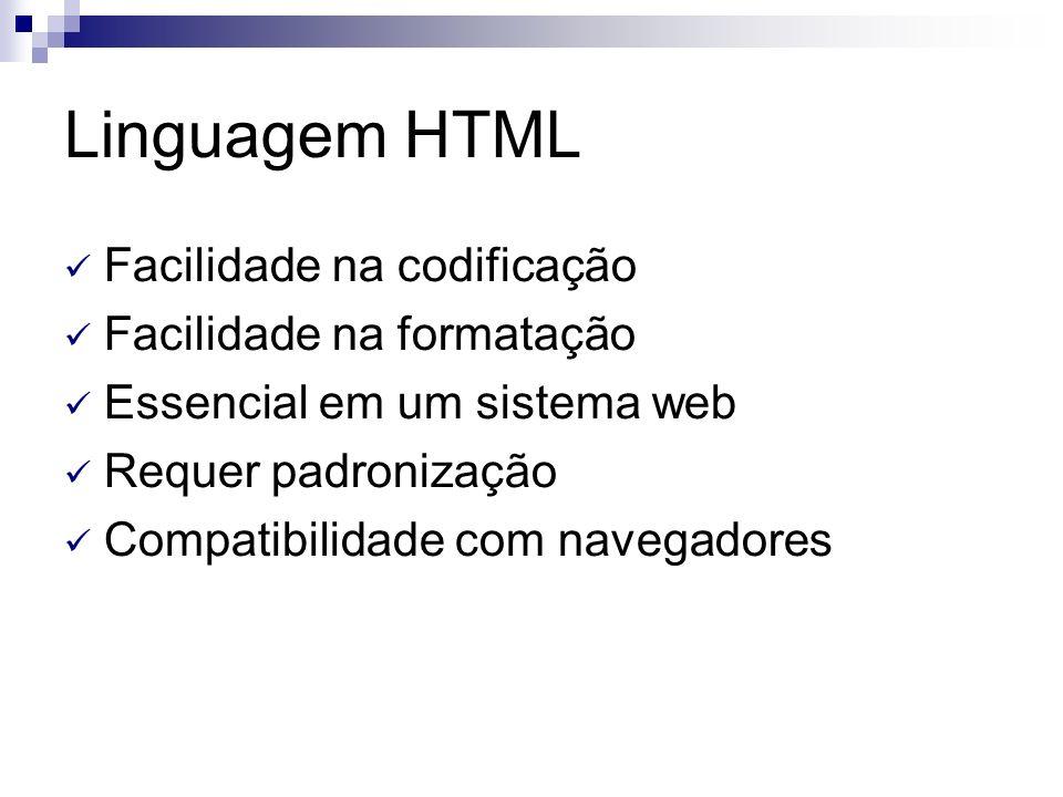 Linguagem HTML Facilidade na codificação Facilidade na formatação Essencial em um sistema web Requer padronização Compatibilidade com navegadores