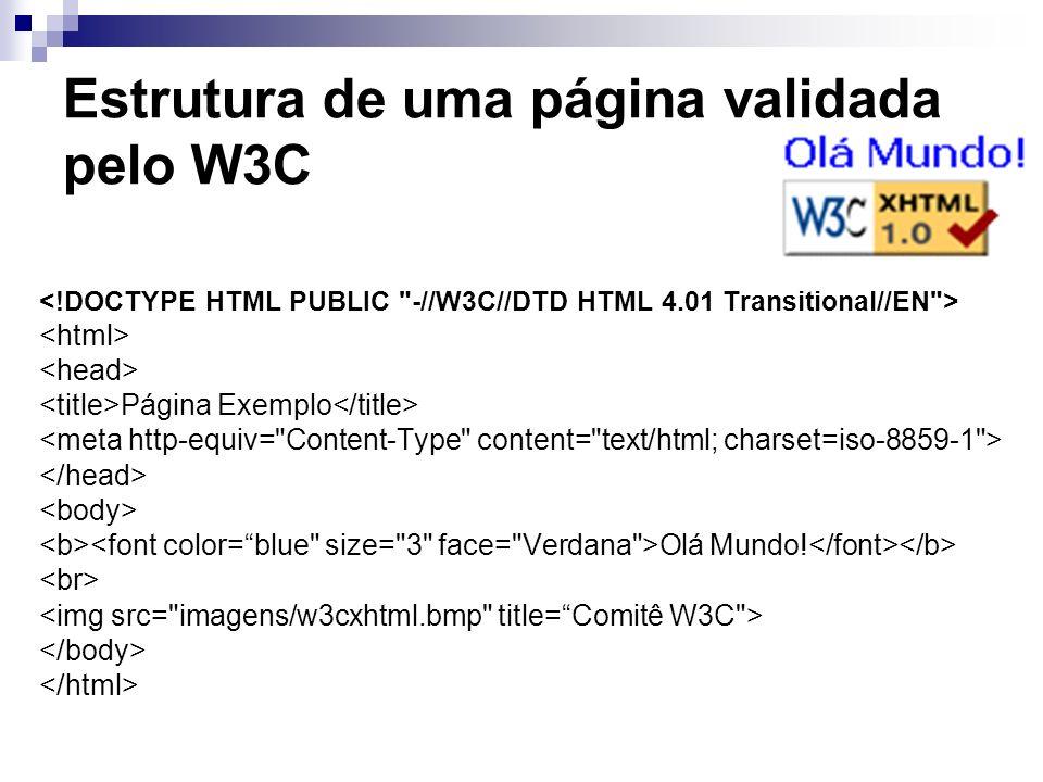 Estrutura de uma página validada pelo W3C Página Exemplo Olá Mundo!