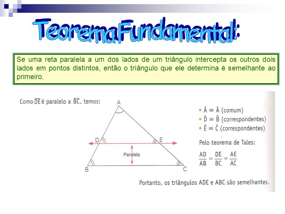 Se uma reta paralela a um dos lados de um triângulo intercepta os outros dois lados em pontos distintos, então o triângulo que ele determina é semelha