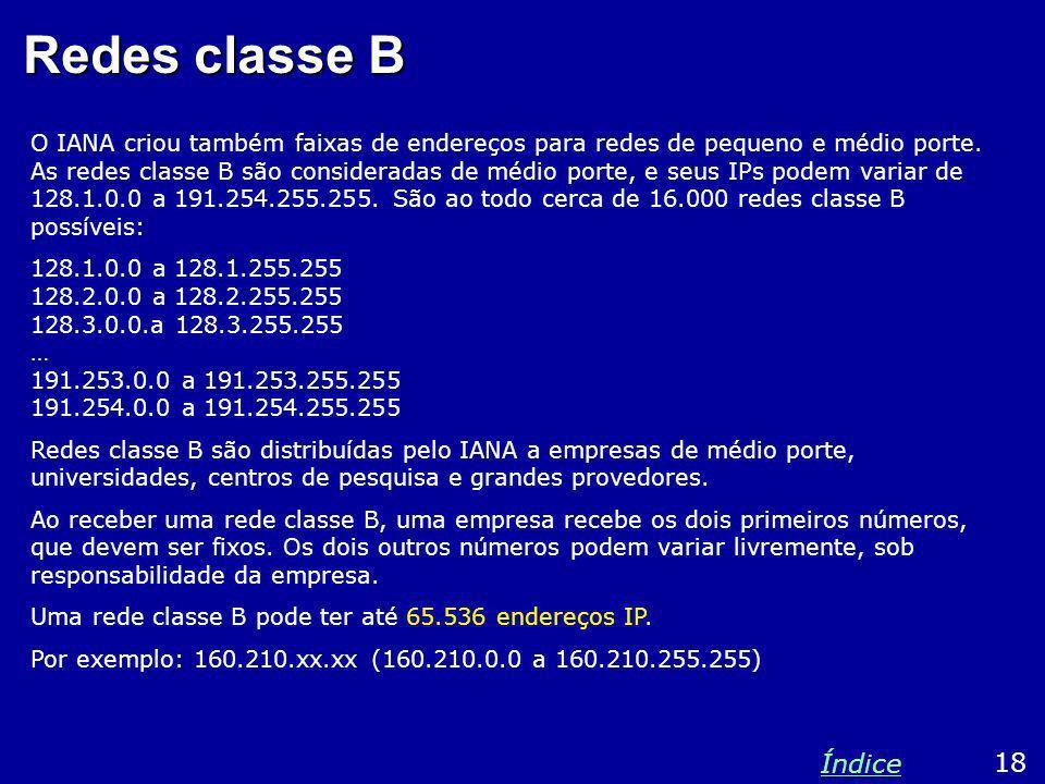 Redes classe B O IANA criou também faixas de endereços para redes de pequeno e médio porte. As redes classe B são consideradas de médio porte, e seus
