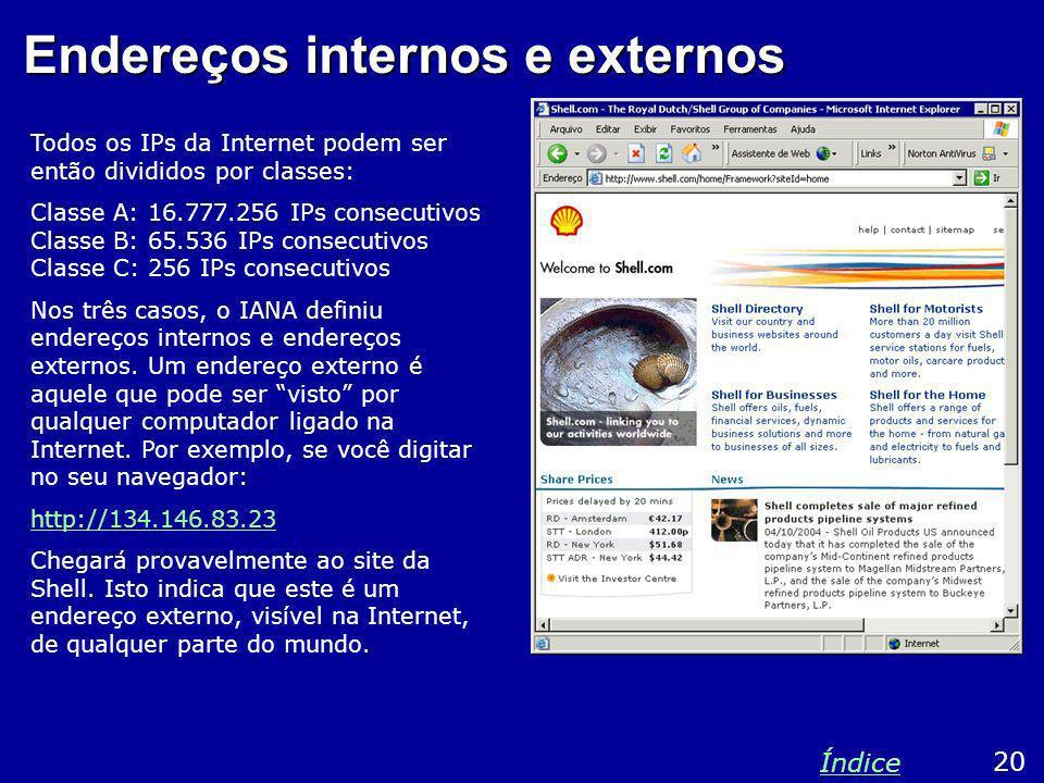 Endereços internos e externos Todos os IPs da Internet podem ser então divididos por classes: Classe A: 16.777.256 IPs consecutivos Classe B: 65.536 I