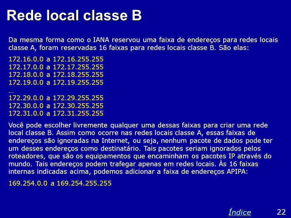 Rede local classe B Da mesma forma como o IANA reservou uma faixa de endereços para redes locais classe A, foram reservadas 16 faixas para redes locai