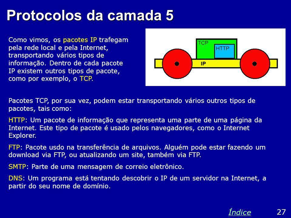 Protocolos da camada 5 Como vimos, os pacotes IP trafegam pela rede local e pela Internet, transportando vários tipos de informação. Dentro de cada pa