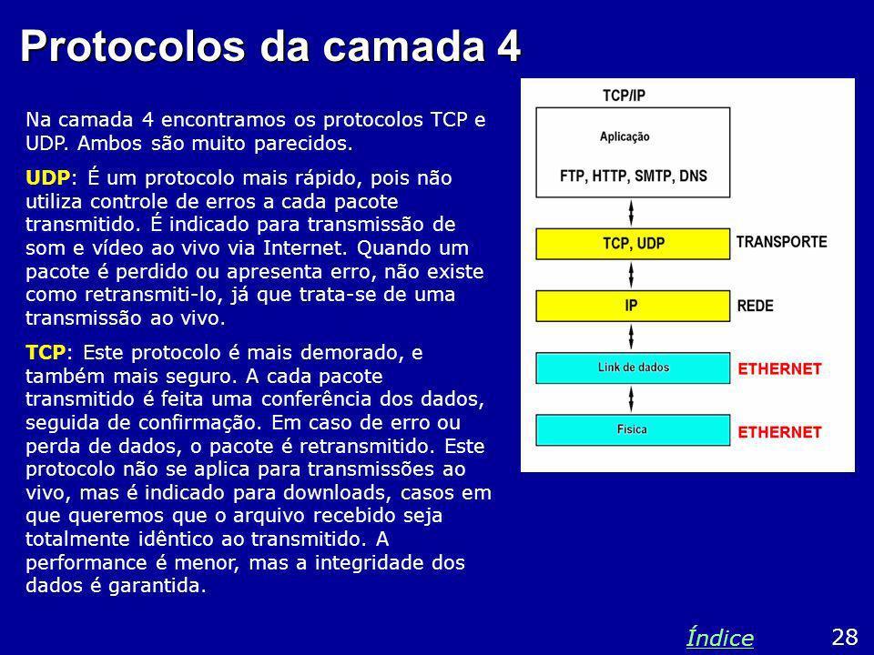 Protocolos da camada 4 Na camada 4 encontramos os protocolos TCP e UDP. Ambos são muito parecidos. UDP: É um protocolo mais rápido, pois não utiliza c