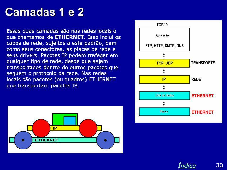 Camadas 1 e 2 Essas duas camadas são nas redes locais o que chamamos de ETHERNET. Isso inclui os cabos de rede, sujeitos a este padrão, bem como seus