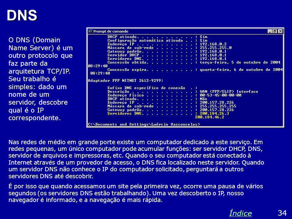 DNS Nas redes de médio em grande porte existe um computador dedicado a este serviço. Em redes pequenas, um único computador pode acumular funções: ser