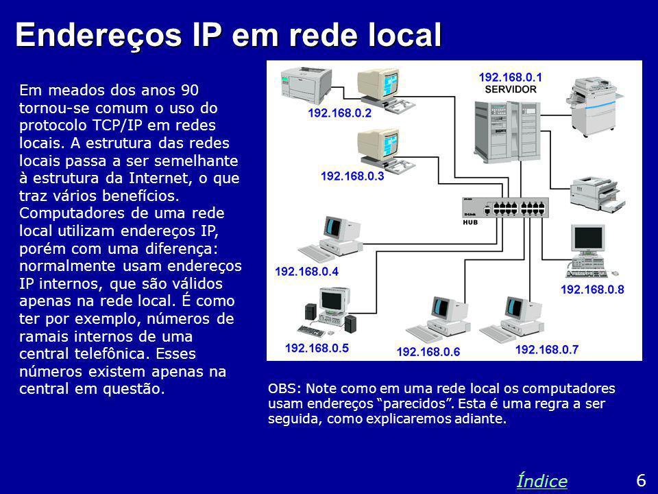 Endereços IP em rede local Em meados dos anos 90 tornou-se comum o uso do protocolo TCP/IP em redes locais. A estrutura das redes locais passa a ser s