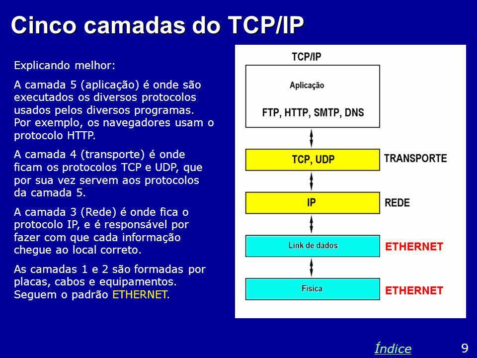 Cinco camadas do TCP/IP Explicando melhor: A camada 5 (aplicação) é onde são executados os diversos protocolos usados pelos diversos programas. Por ex