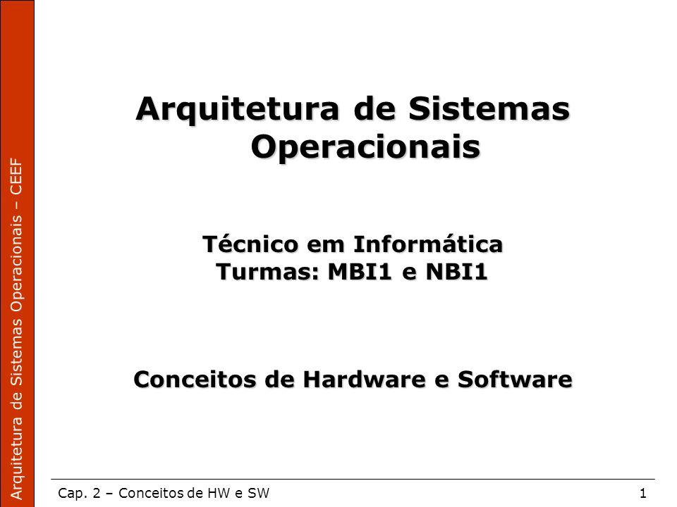 Arquitetura de Sistemas Operacionais – CEEF Cap. 2 – Conceitos de HW e SW1 Arquitetura de Sistemas Operacionais Técnico em Informática Turmas: MBI1 e