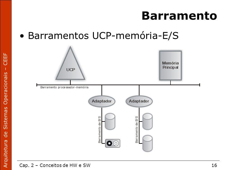 Arquitetura de Sistemas Operacionais – CEEF Cap. 2 – Conceitos de HW e SW16 Barramento Barramentos UCP-memória-E/S