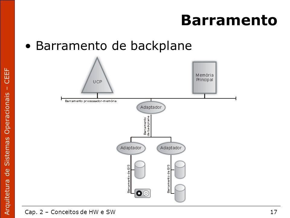 Arquitetura de Sistemas Operacionais – CEEF Cap. 2 – Conceitos de HW e SW17 Barramento Barramento de backplane