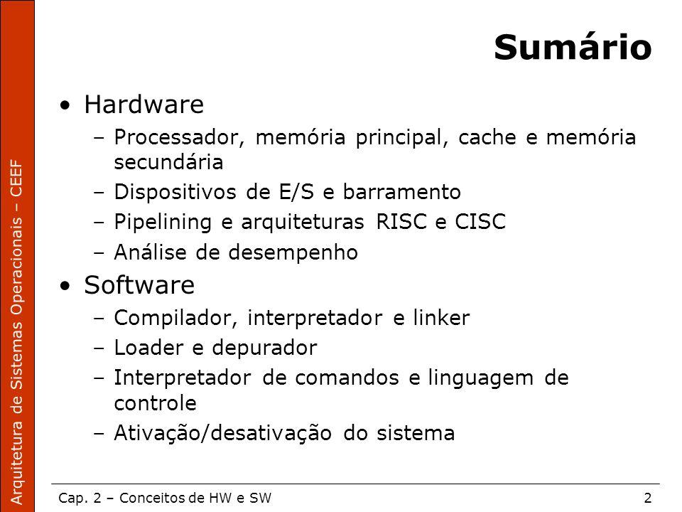 Arquitetura de Sistemas Operacionais – CEEF Cap. 2 – Conceitos de HW e SW2 Sumário Hardware –Processador, memória principal, cache e memória secundári