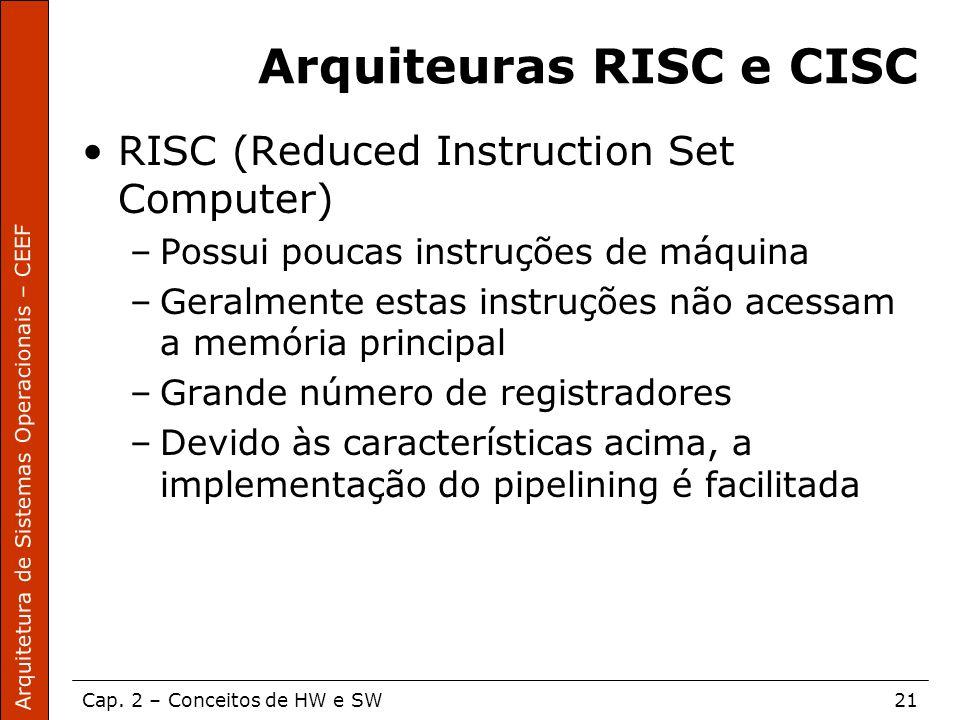 Arquitetura de Sistemas Operacionais – CEEF Cap. 2 – Conceitos de HW e SW21 Arquiteuras RISC e CISC RISC (Reduced Instruction Set Computer) –Possui po