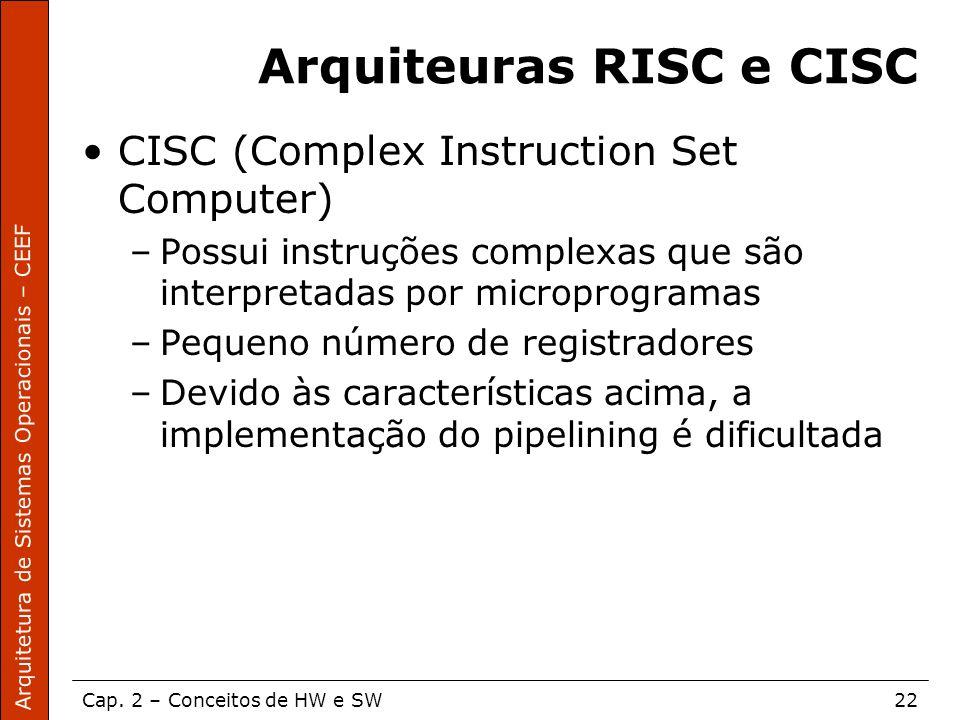 Arquitetura de Sistemas Operacionais – CEEF Cap. 2 – Conceitos de HW e SW22 Arquiteuras RISC e CISC CISC (Complex Instruction Set Computer) –Possui in