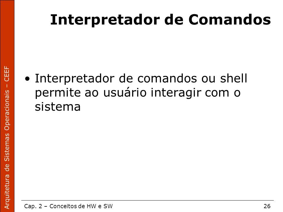 Arquitetura de Sistemas Operacionais – CEEF Cap. 2 – Conceitos de HW e SW26 Interpretador de Comandos Interpretador de comandos ou shell permite ao us