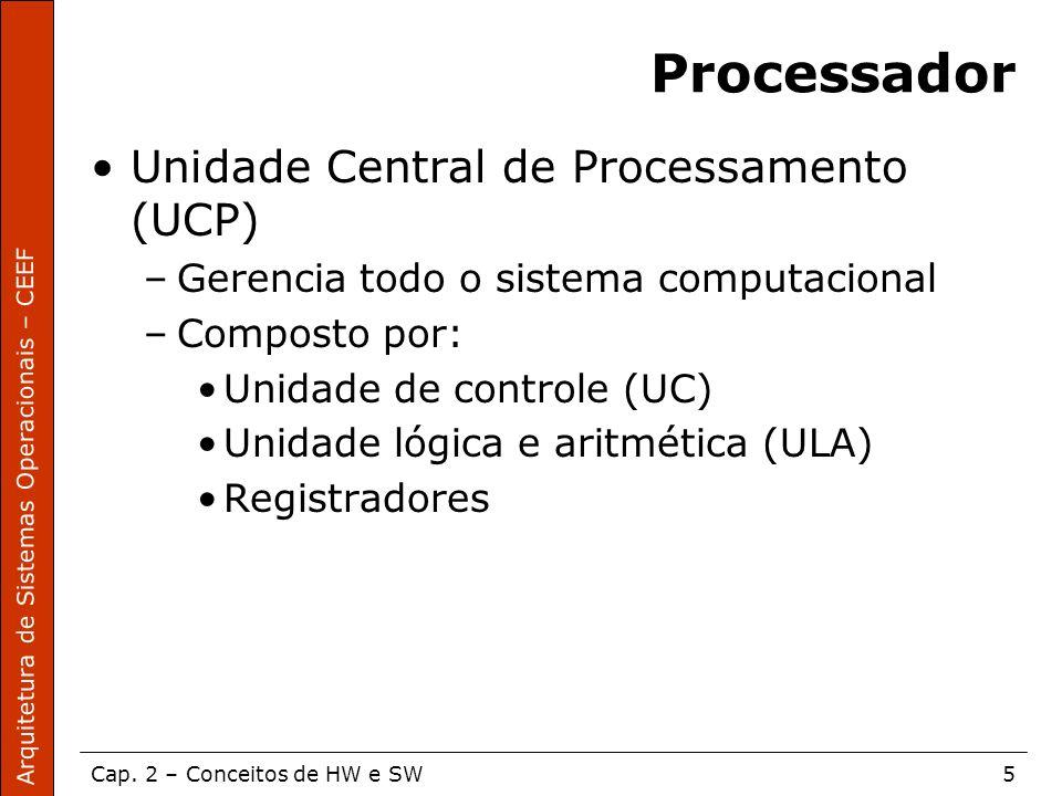 Arquitetura de Sistemas Operacionais – CEEF Cap. 2 – Conceitos de HW e SW5 Processador Unidade Central de Processamento (UCP) –Gerencia todo o sistema