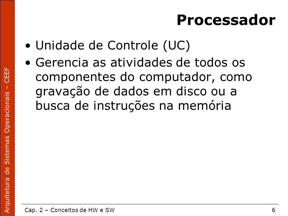 Arquitetura de Sistemas Operacionais – CEEF Cap. 2 – Conceitos de HW e SW6 Processador Unidade de Controle (UC) Gerencia as atividades de todos os com
