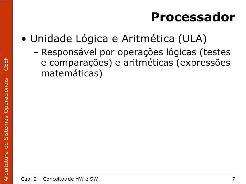 Arquitetura de Sistemas Operacionais – CEEF Cap. 2 – Conceitos de HW e SW7 Processador Unidade Lógica e Aritmética (ULA) –Responsável por operações ló