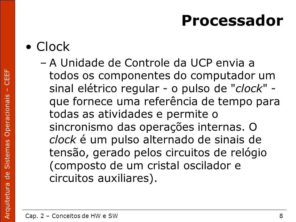 Arquitetura de Sistemas Operacionais – CEEF Cap. 2 – Conceitos de HW e SW8 Processador Clock –A Unidade de Controle da UCP envia a todos os componente