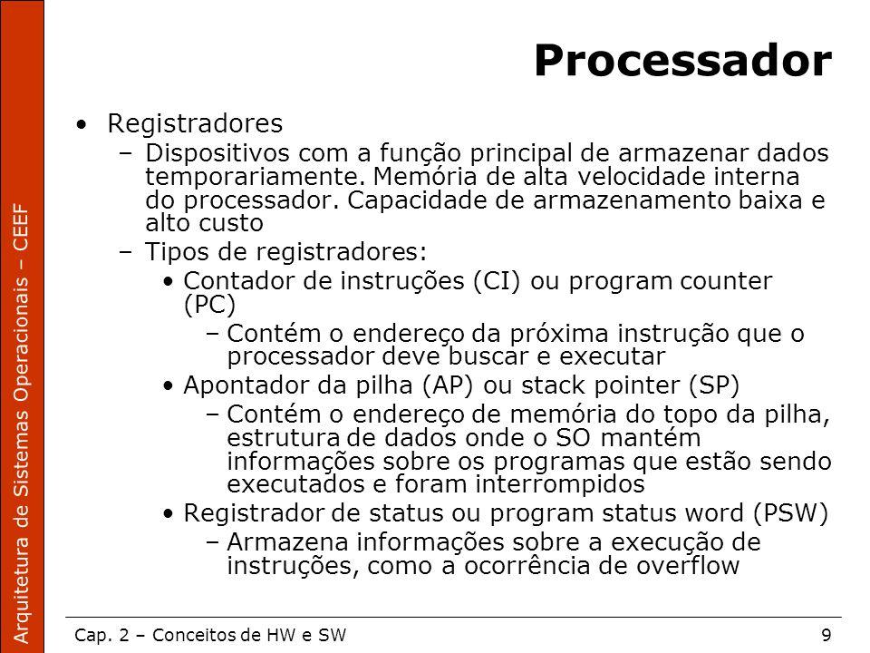 Arquitetura de Sistemas Operacionais – CEEF Cap. 2 – Conceitos de HW e SW9 Processador Registradores –Dispositivos com a função principal de armazenar