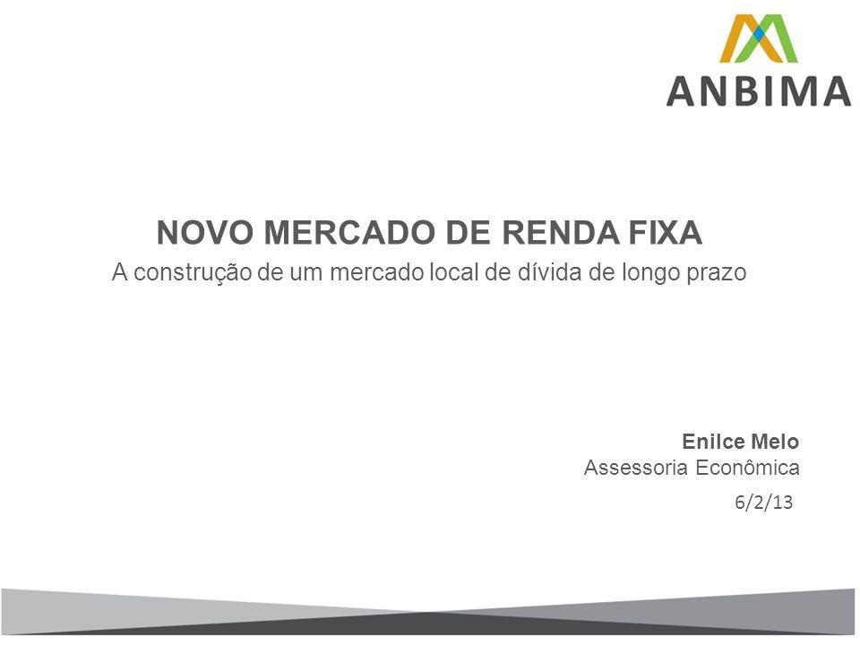 NOVO MERCADO DE RENDA FIXA A construção de um mercado local de dívida de longo prazo Enilce Melo Assessoria Econômica 6/2/13