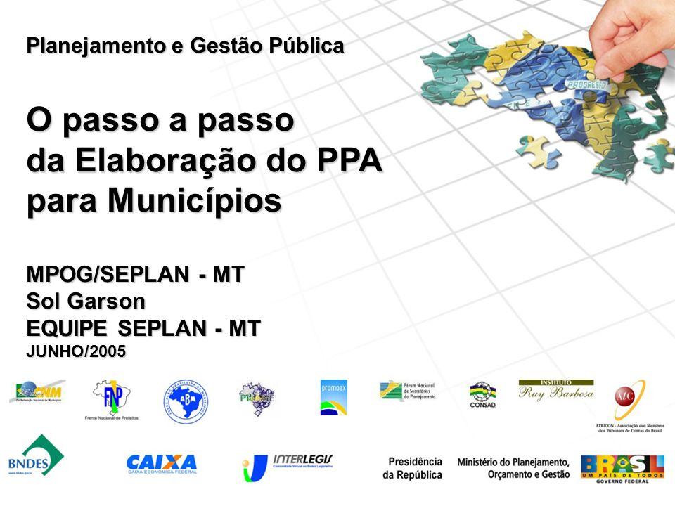 Planejamento e Gestão Pública O passo a passo da Elaboração do PPA para Municípios MPOG/SEPLAN - MT Sol Garson EQUIPE SEPLAN - MT JUNHO/2005