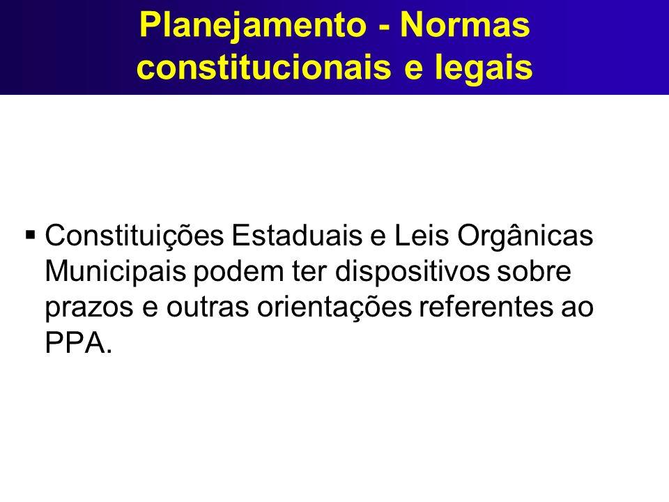 Planejamento - Normas constitucionais e legais Constituições Estaduais e Leis Orgânicas Municipais podem ter dispositivos sobre prazos e outras orient