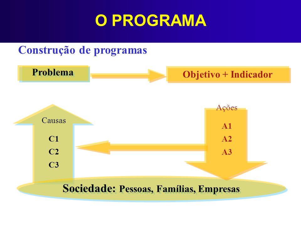 O PROGRAMA Problema Causas C1 C2 C3 Objetivo + Indicador Sociedade: Pessoas, Famílias, Empresas Ações A1 A2 A3 Construção de programas