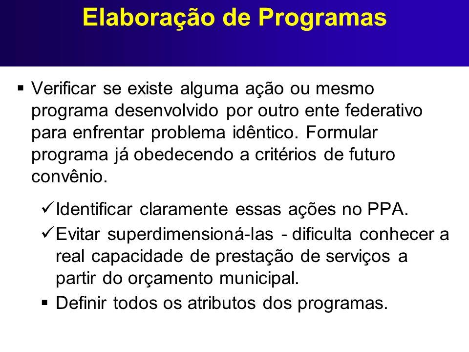 Elaboração de Programas Verificar se existe alguma ação ou mesmo programa desenvolvido por outro ente federativo para enfrentar problema idêntico. For