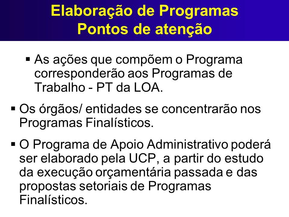 Elaboração de Programas Pontos de atenção As ações que compõem o Programa corresponderão aos Programas de Trabalho - PT da LOA. Os órgãos/ entidades s