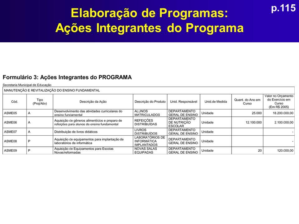 Elaboração de Programas: Ações Integrantes do Programa p.115