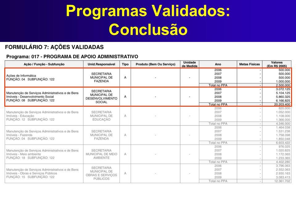 Programas Validados: Conclusão
