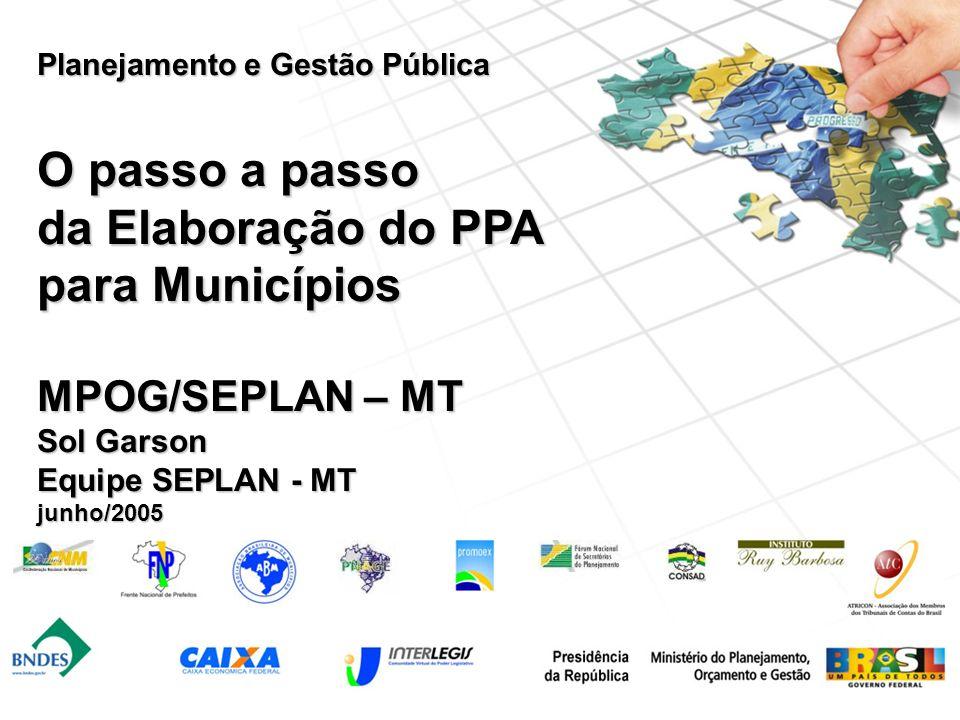 Planejamento e Gestão Pública O passo a passo da Elaboração do PPA para Municípios MPOG/SEPLAN – MT Sol Garson Equipe SEPLAN - MT junho/2005