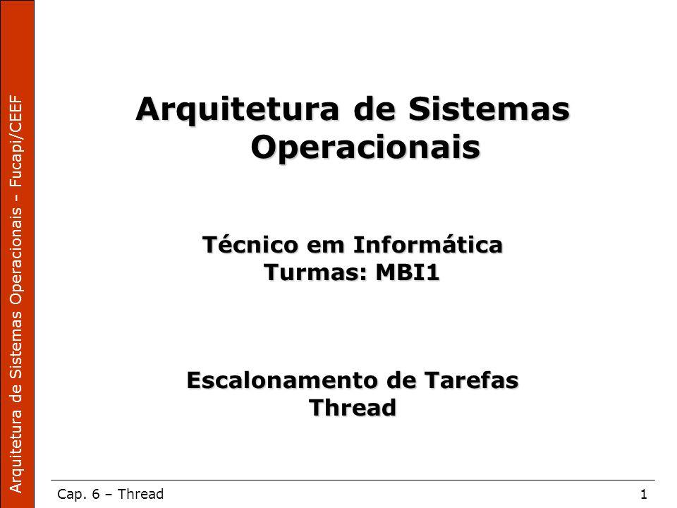 Arquitetura de Sistemas Operacionais – Fucapi/CEEF Cap. 6 – Thread1 Arquitetura de Sistemas Operacionais Técnico em Informática Turmas: MBI1 Escalonam