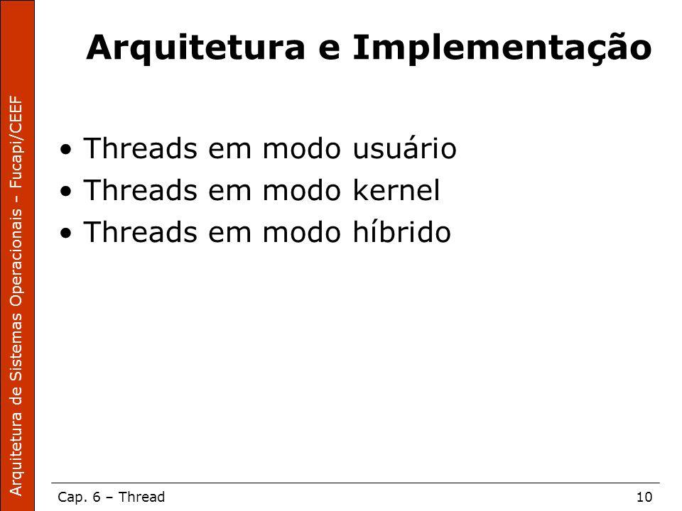 Arquitetura de Sistemas Operacionais – Fucapi/CEEF Cap. 6 – Thread10 Arquitetura e Implementação Threads em modo usuário Threads em modo kernel Thread