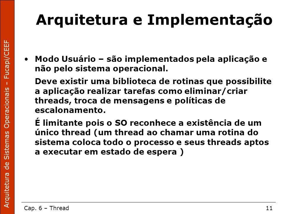 Arquitetura de Sistemas Operacionais – Fucapi/CEEF Cap. 6 – Thread11 Arquitetura e Implementação Modo Usuário – são implementados pela aplicação e não