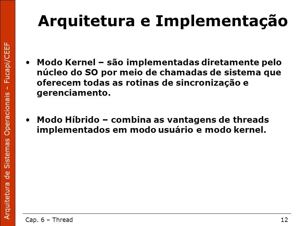 Arquitetura de Sistemas Operacionais – Fucapi/CEEF Cap. 6 – Thread12 Arquitetura e Implementação Modo Kernel – são implementadas diretamente pelo núcl