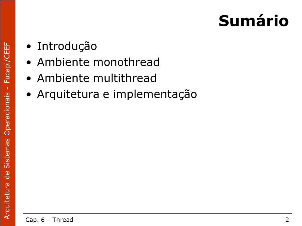 Arquitetura de Sistemas Operacionais – Fucapi/CEEF Cap. 6 – Thread2 Sumário Introdução Ambiente monothread Ambiente multithread Arquitetura e implemen