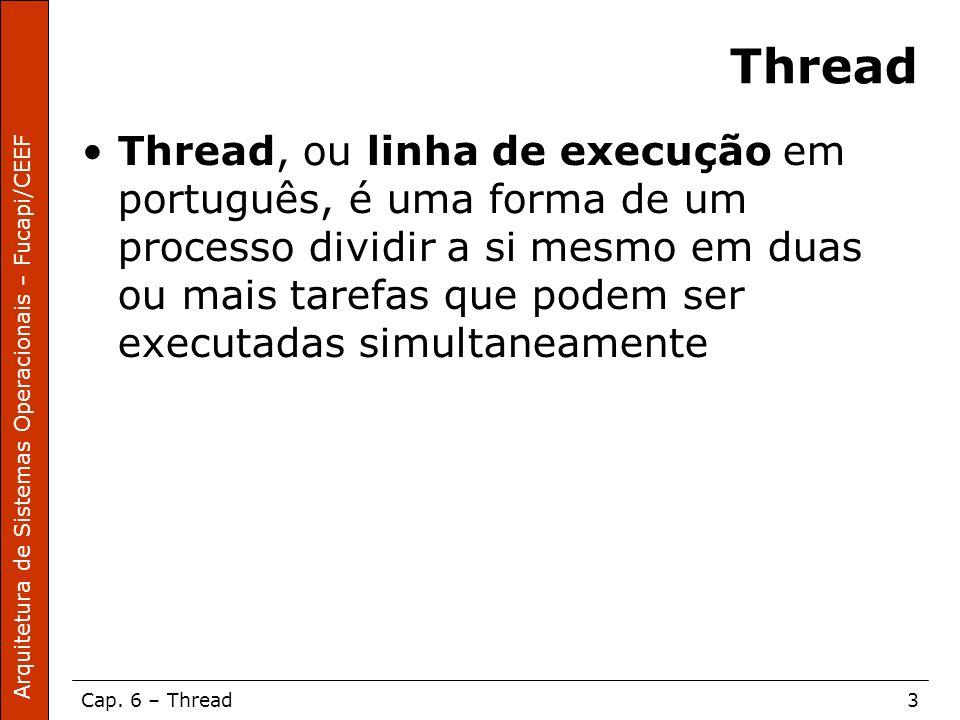 Arquitetura de Sistemas Operacionais – Fucapi/CEEF Cap. 6 – Thread3 Thread Thread, ou linha de execução em português, é uma forma de um processo divid