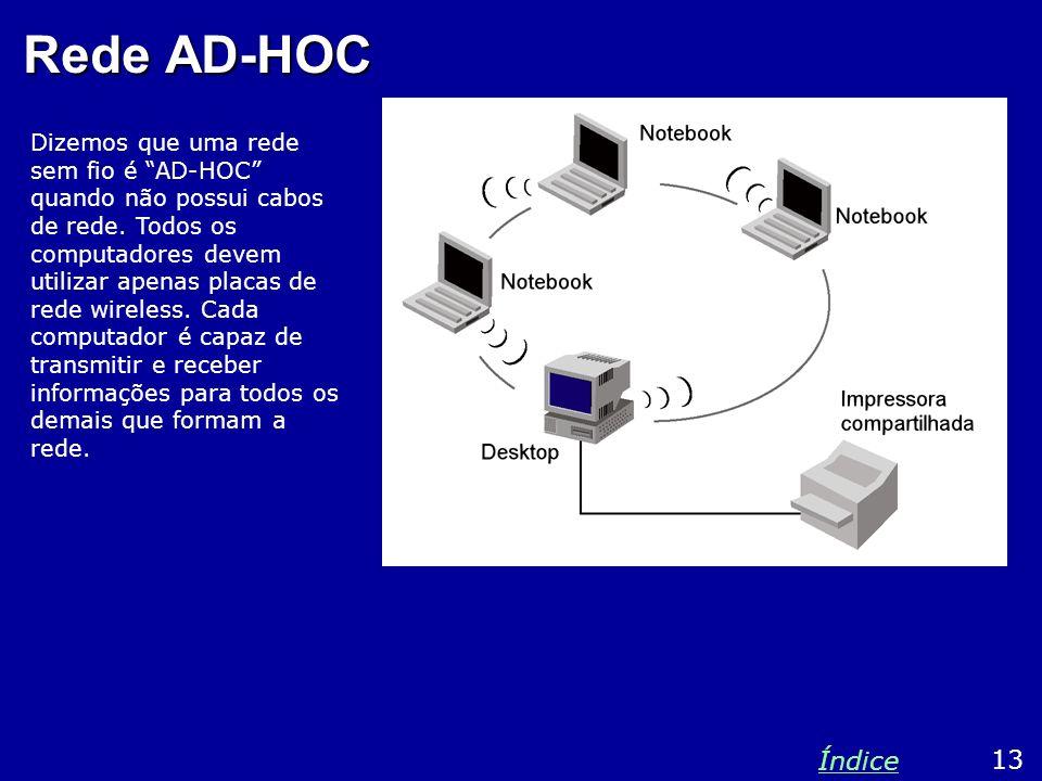 Rede AD-HOC Dizemos que uma rede sem fio é AD-HOC quando não possui cabos de rede. Todos os computadores devem utilizar apenas placas de rede wireless
