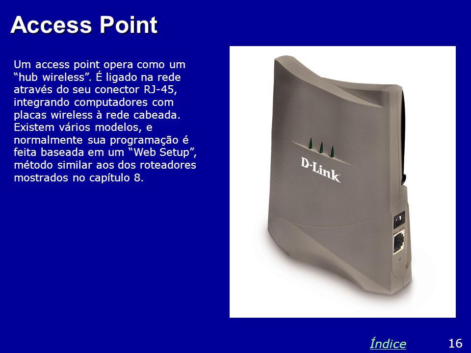 Access Point Um access point opera como um hub wireless. É ligado na rede através do seu conector RJ-45, integrando computadores com placas wireless à
