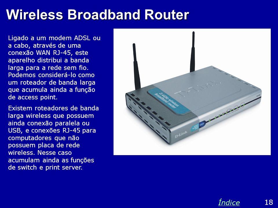 Wireless Broadband Router Ligado a um modem ADSL ou a cabo, através de uma conexão WAN RJ-45, este aparelho distribui a banda larga para a rede sem fi