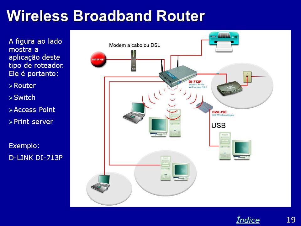 Wireless Broadband Router A figura ao lado mostra a aplicação deste tipo de roteador. Ele é portanto: Router Switch Access Point Print server Exemplo: