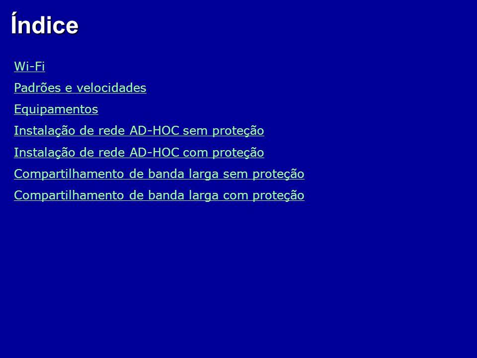 Índice Wi-Fi Padrões e velocidades Equipamentos Instalação de rede AD-HOC sem proteção Instalação de rede AD-HOC com proteção Compartilhamento de band