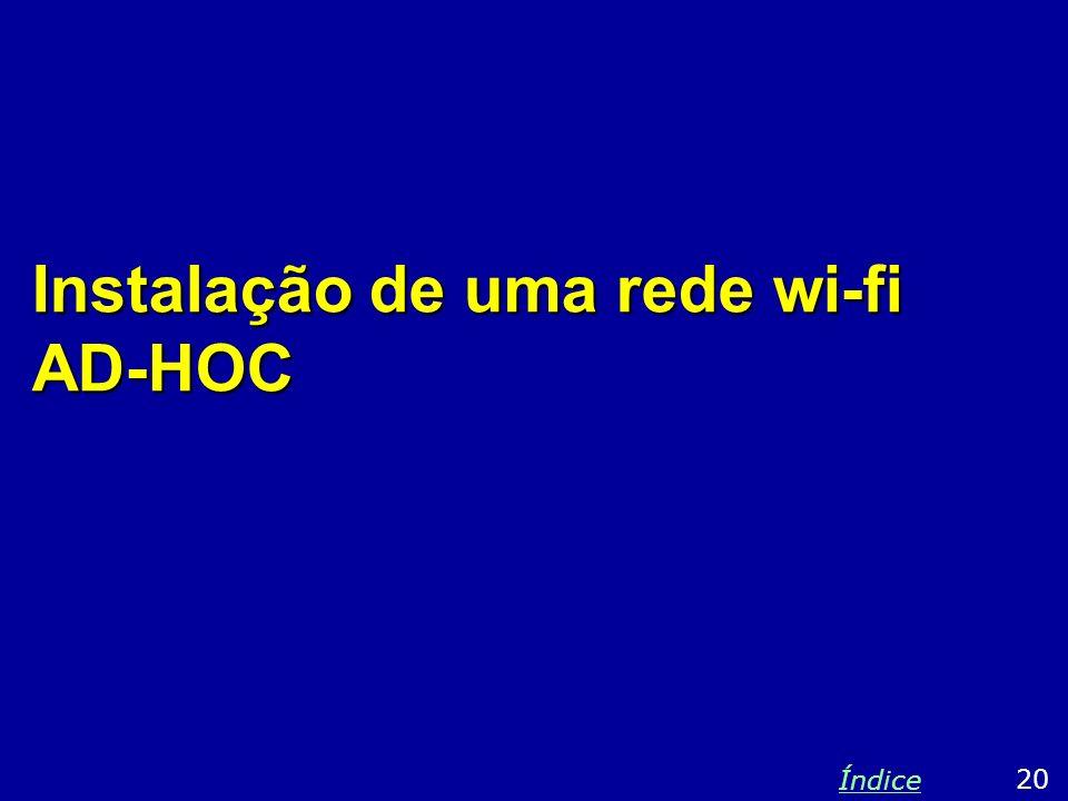 Instalação de uma rede wi-fi AD-HOC 20 Índice
